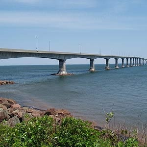 Did You Know Confederation Bridge... ...spans 12.9 km, making this engineering marvel the world's longest bridge constructed over ice-covered waters? Before the bridge's unveiling in 1997, the only way to reach Prince Edward Island was via ferry or airplane. Now crossing the Northumberland Strait is a breeze – it only takes drivers 10 minutes to get to the other side.