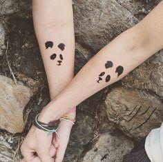 Matching Panda Best Friend Tattoos by Resul Odabas