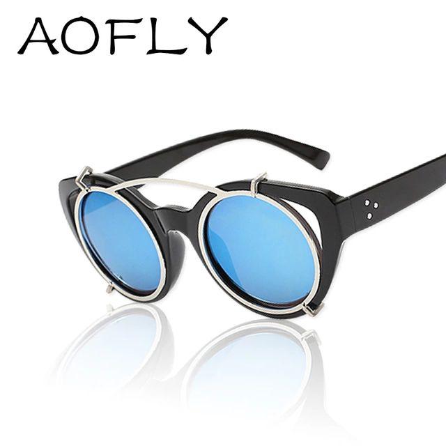 Съемный пара панк кошка глаз круглые солнцезащитные очки очки женщины мужчины круг линзы старинные солнечные очки ретро gafas óculos де золь S1638