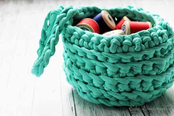 DIY Tutorial: Mit Textilgarn Körbchen häkeln