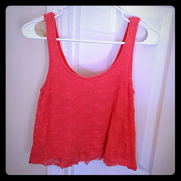 Coral Laced tank Lace tank with a soft flow fit Tops Tank Tops