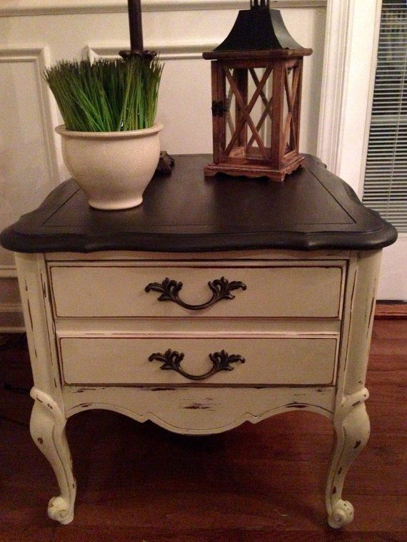 Items similar to SOLD Vintage French Country/Rustic/ End Table/Bedside Table  Hand Painted Annie Sloan Country Grey And Graphite Distressed And Waxed on  Etsy