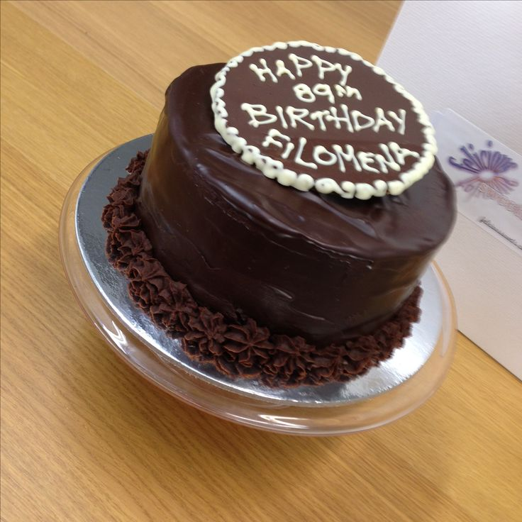 """Vegan Chocolate Cake for one    5"""" chocolate cake covered in ganache and topped with a personalised chocolate plaque."""