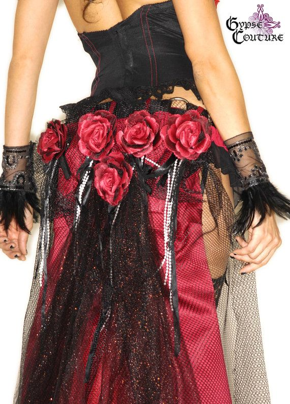Made To Order Spanish Rose, Queen of Hearts Collection - Red Silk Rose Bouquet, Red Taffeta & Black Tulle Bustle With Beltloops.. $175.99, via Etsy.