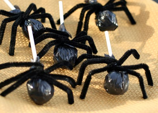 • Spiders: Snip off the top of a black garbage bag squares. Take three pieces of black chenille craft wire and snipped them in half to made 6 perfectly sized legs. Wrap the 3 wires around the stick once to hold the garbage bag on tightly and finally give them knees by putting a kink in each leg at the center.