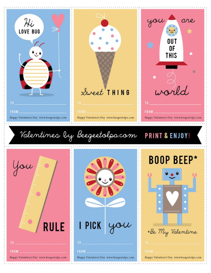 Click through to print out these free children's classroom Valentines. They are so cute!