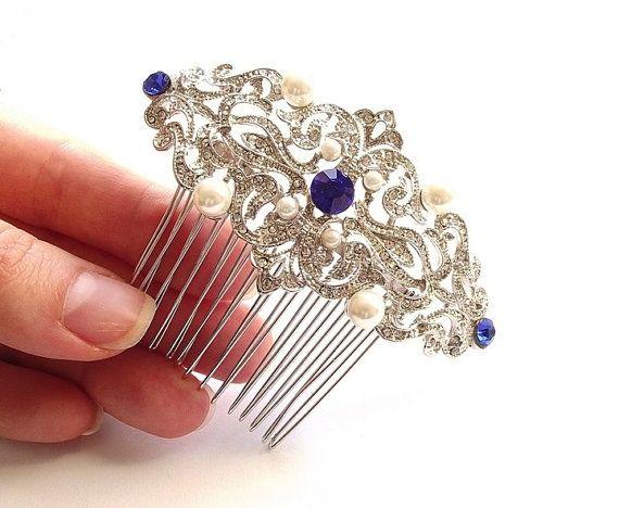 royal blue saphire hair comb wedding hair by nefertitijewelry2009