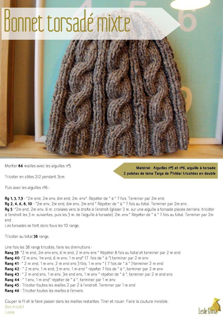 Matériel : Aiguilles n°5 et n°6, aiguille à torsade 3 pelotes de laine Rapido de Phildar ou 2 pelote de laine Taiga de Phildar tricoté en double Bonnettorsadémixte Monter 86 mailles avec les aiguilles n°5 Tricoter en côtes 2/2...