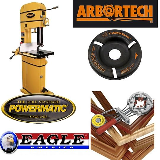 "Enter to win a Powermatic Bandsaw, a Arbortech TurboPlane or an Eagle America Picture Frame ""Clamp & Frame"" Combo Kit 1/2"" Shank"