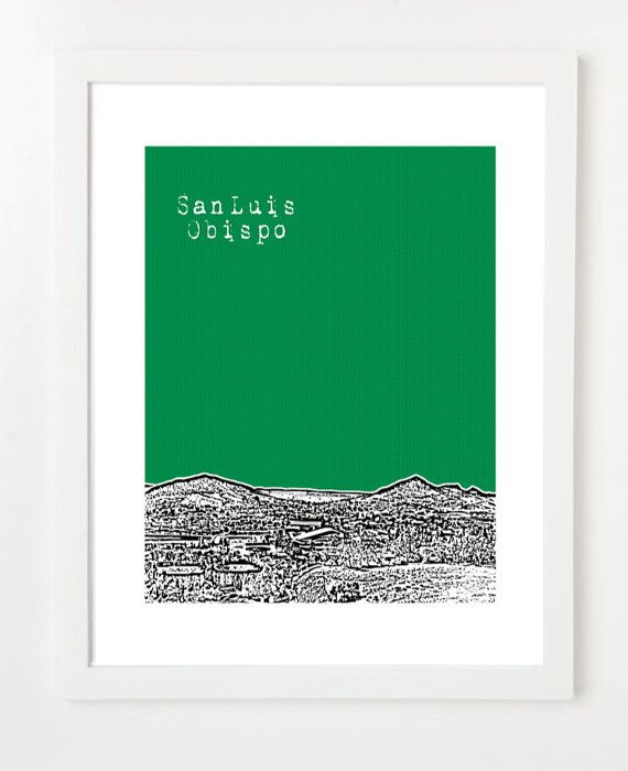 San Luis Obispo Skyline Poster  Cal Poly Art by BugsyAndSprite, $20.00