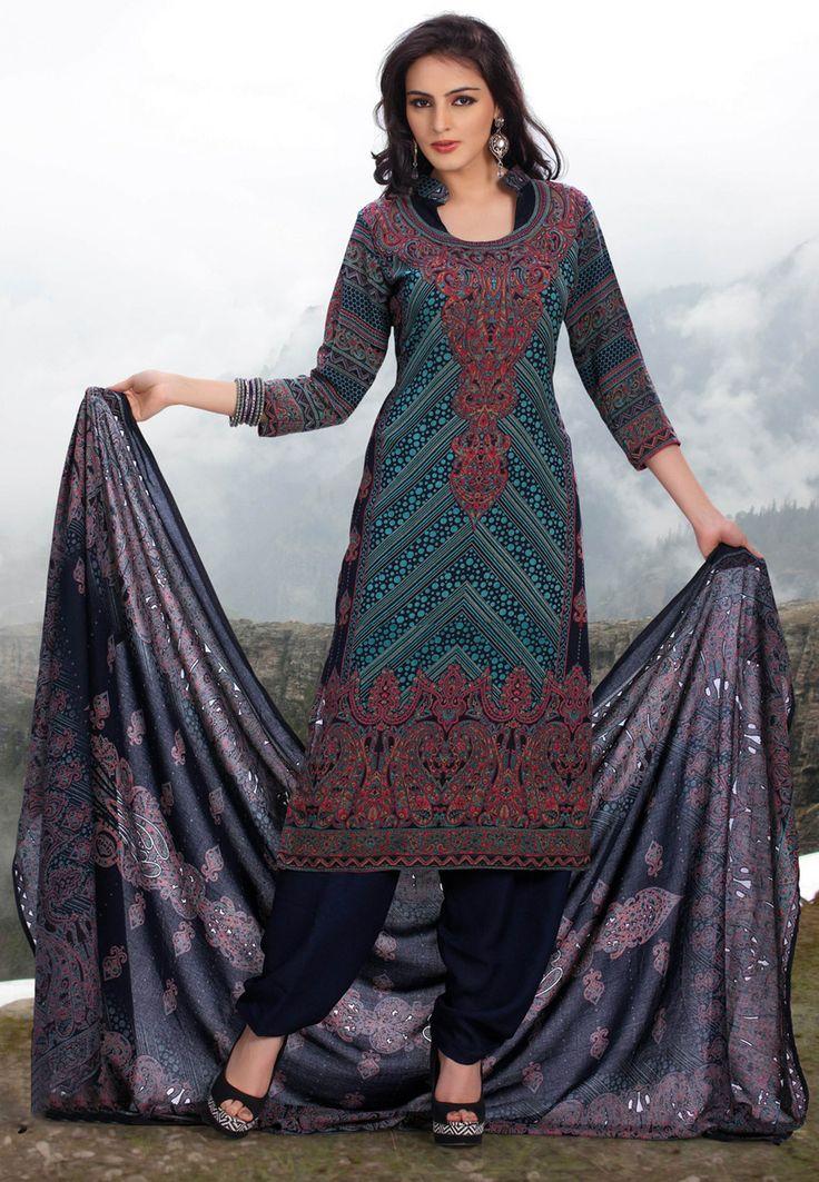 Navy Blue Art Pashmina Salwar Kameez Online Shopping: KCR4998