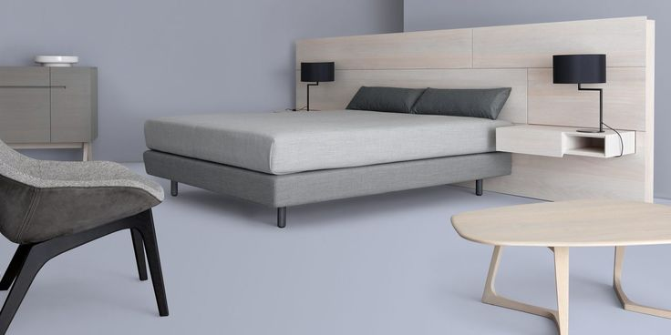 MIUT BASIC box sprung bed with the optional MIUT PANEL & BOX designed by Julia Fellner for Zeitraum