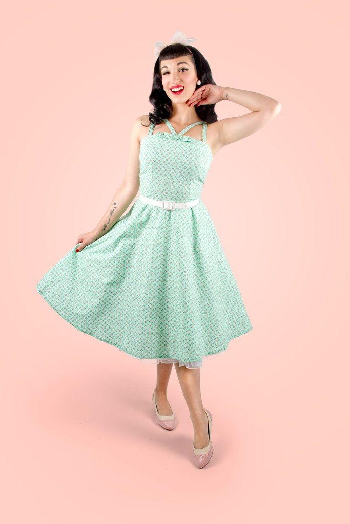 """Peggy"" Circle Dress in Mint"
