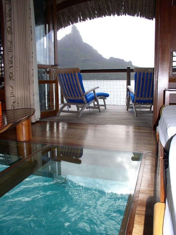 The interior of the over water bungalows.  (Bora Bora  Tahiti)  LOVE!!!  COOL Floors!