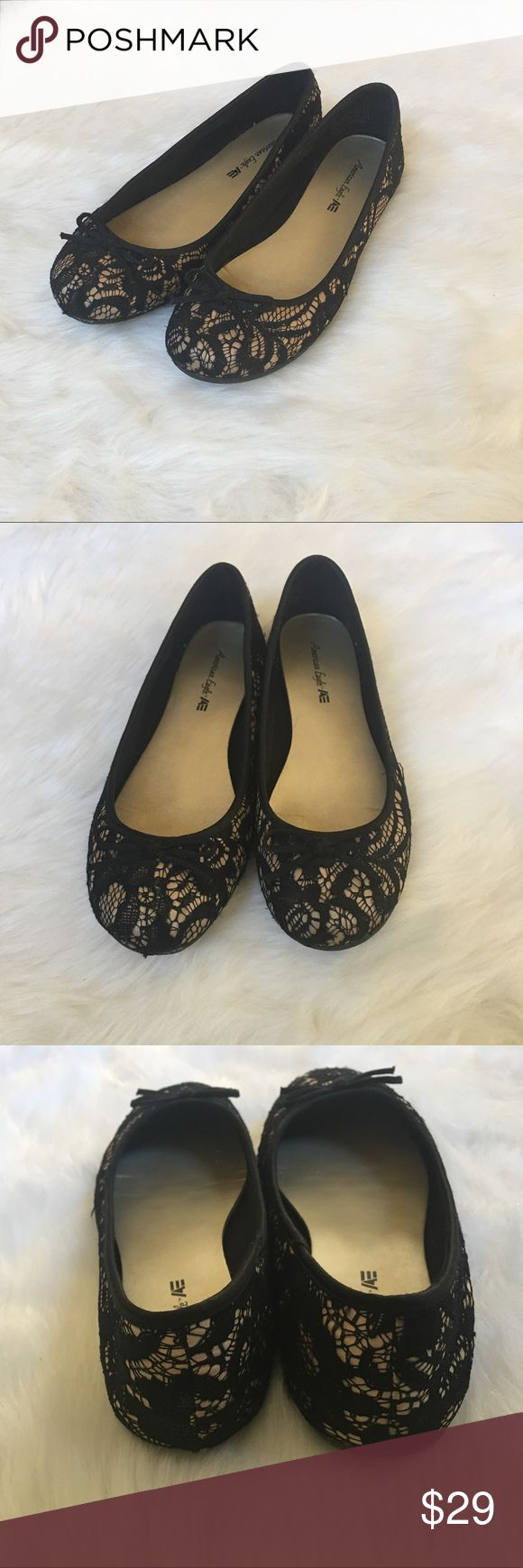 🆕American Eagle Lace Flats I do my best to describe and photograph all my items in full detail, flaws and no filters, although I try to remove any background noise. That does not affect the item for sale. GRADING: NWT/NWOT: Brand new. Item has never been worn. 10/10: Like new. Item has only been worn once or twice. Very gently used. 9/10: Excellent. Item has been worn but there is very minor overall wear. No significant flaws. Please view photos regarding care. American Eagle Outfitters…