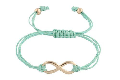 Mint with Silver Infinity Adjustable String Bracelet