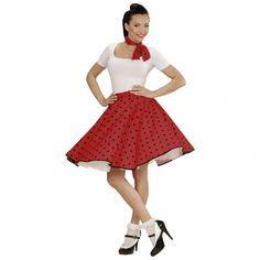 Disfraz Falda Anos 60 Rojo