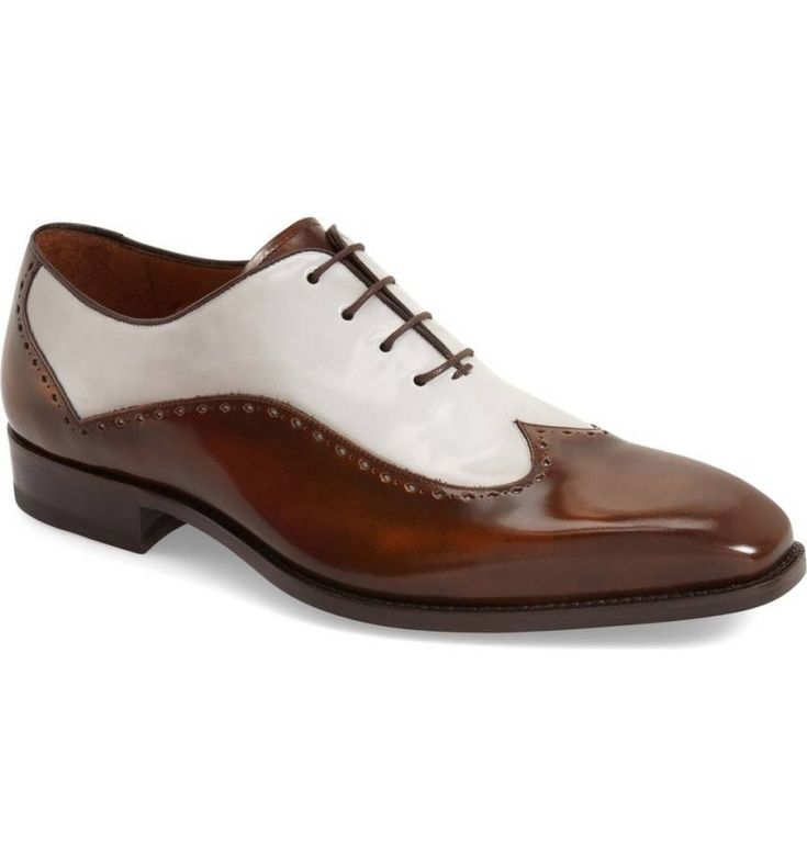 Handmade Men's Two tone wingtip spectator dress shoes, Men formal shoes brown wh - Dress/Formal