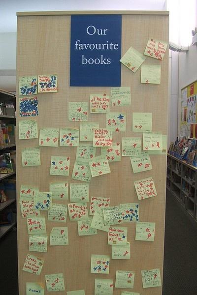 Our Favorite Books post-it bookshelf