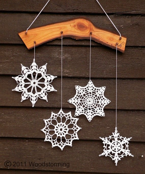 Crochet Snowflake Decoration by Woodstorming