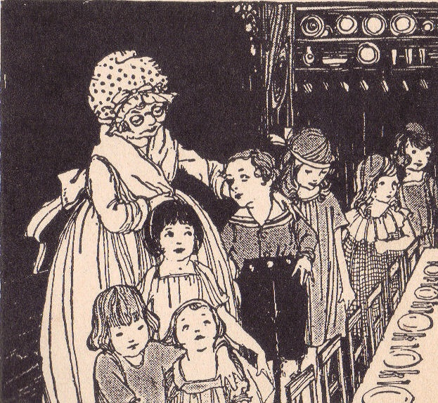 """To have good manners at the table    """"Happy Manikin in Manners Town,"""" the merry book of good manners. Illustrated by Mildred Lyon. Written by Laura Rountree Smith, author of """"Jolly Polly"""", """"Tiddly Winks Books"""", etc. """"A Just Right Book"""" published by Albert Whitman Co., 1922."""
