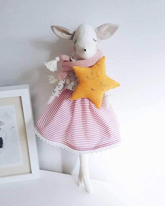 Deer Girl with star pillow