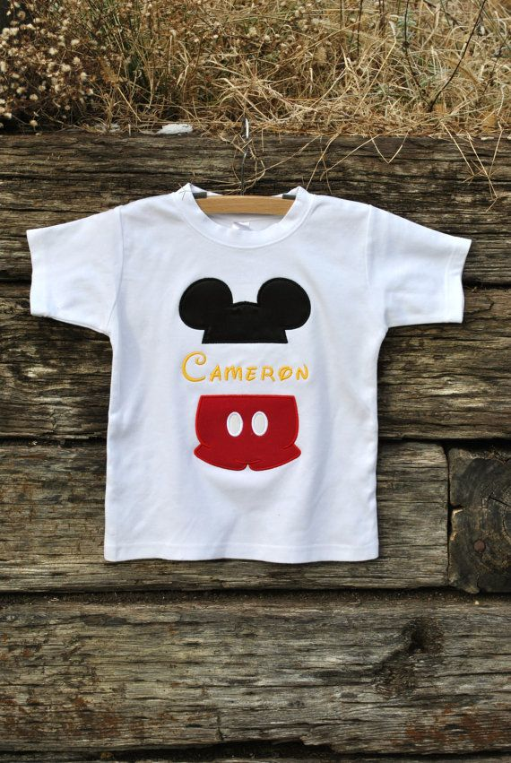 Mickey Mouse Split Name Shirt for Boys.  by HootnHollarClothing, $31.00