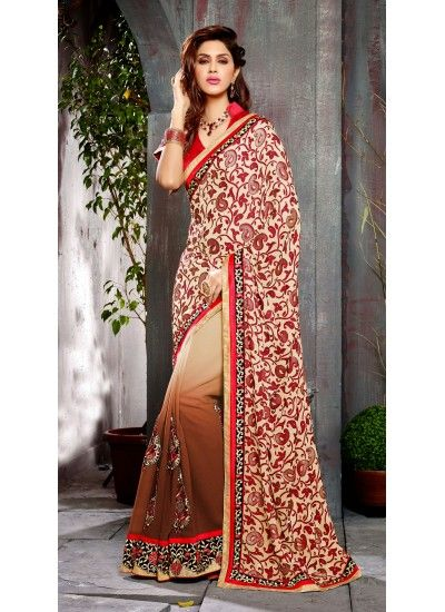 Buy Cream Georgette, Brasso Saree with Blouse at very affordable price with the 100% Original product guarantee.