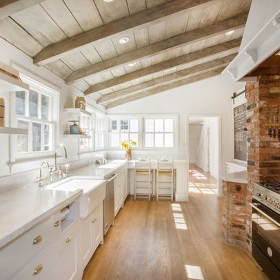 For the old house: Wood ceiling color and beam color. White Kitchen with Brick and Wood Ceiling