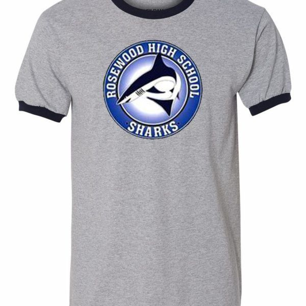Rosewood High Sharks Grey Ringer T-shirt