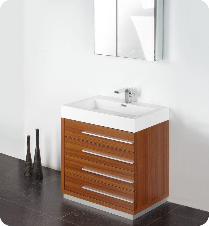Livello 30 Inch Teak Modern Bathroom Vanity With Medicine Cabinet