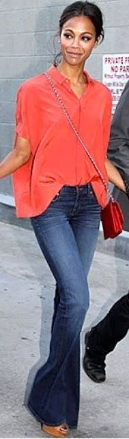 Outfit Posts: outfit post: coral blouse, bootcut jeans, wedges (Zoe Saldana)