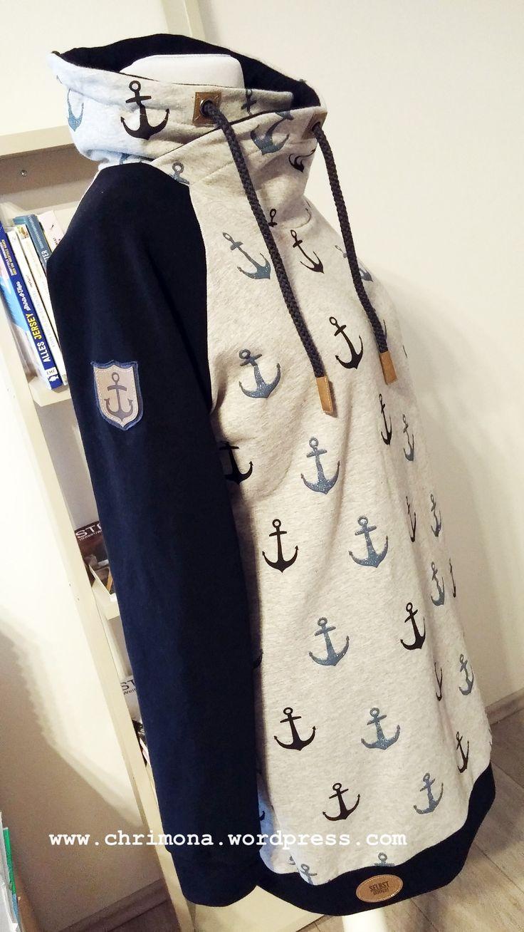 """Maritimes Long-Sweatshirt """"Amy"""" mit Stehkragen, Schnittmuster von Pattydoo"""