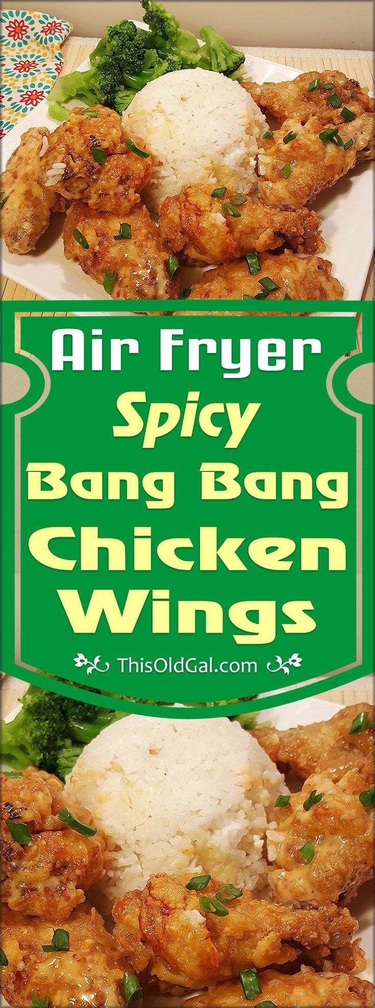 Air Fryer Spicy Bang Bang Chicken Wings have a wonderful crunch and are drenched in a creamy, sweet, but spicy, chili sauce. via @thisoldgalcooks