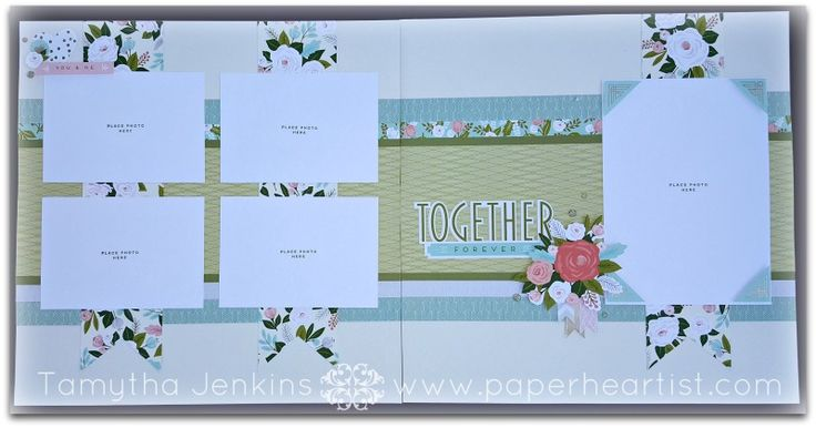 """""""Together Forever"""" scrapbook layout using CTMH """"Hello Lovely"""" paper & complements, gold glitter gems and Blush shimmer ribbon. All products from Close To My Heart. Created by Tamytha Jenkins at paperheartist.com for the Seasonal Expressions 1 New Product Blog Hop"""