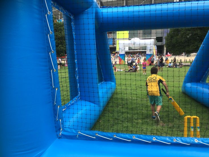 inflatable cricket net in action Inflatable game
