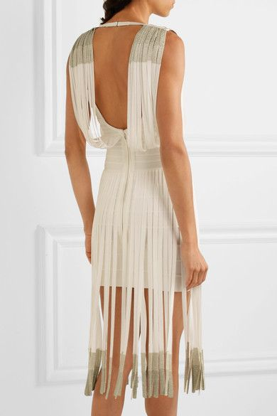 Hervé Léger - Fringed Dégradé Bandage Dress - White - xx small