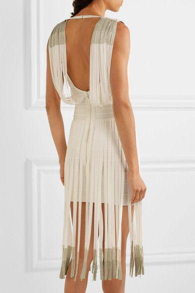 Hervé Léger - Fringed Dégradé Bandage Dress - White - xx small