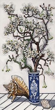 """David Bates  Pear Blossoms with Shell oil on panel 48x24"""""""