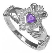 February Birthstone Silver Claddagh Ring $42.99