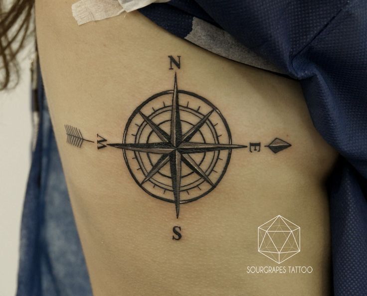 NAUTICAL COMPASS TATTOO 13.22 Tattoo Studio // London //02074610433 // www.1322tattoo.uk