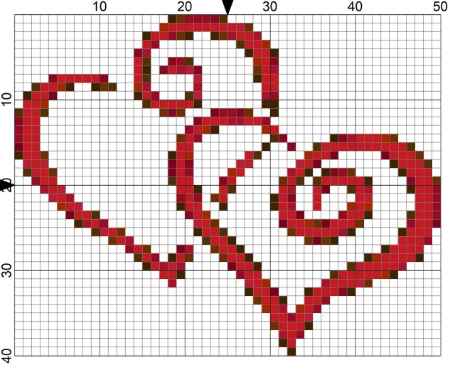 Hearts Entwined Needlepoint Chart for National Weddings Month. Hearts lovingly entwined are the subject of this free needlepoint chart to celebrate National Weddings Month on Day 52 of 365 Needlepoint New Year's Resolutions.