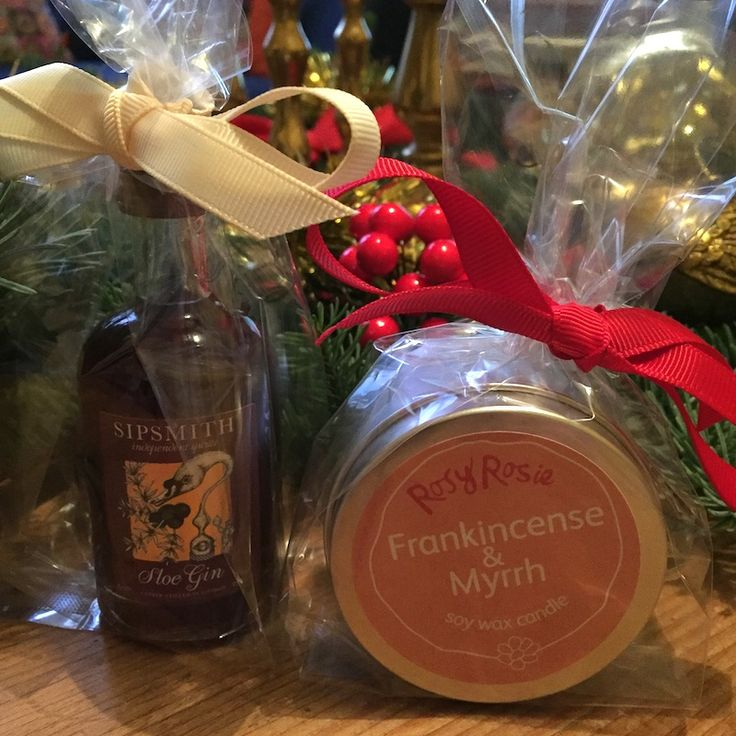 I've been creating Teacher Thank you presents and Secret Santas using our own Travel Tin candles & Sipsmith miniatures. #scentedcandles #frankincense #myrrh #sloegin #rosyrosie