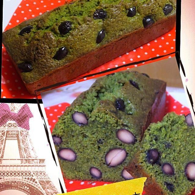 お節料理の黒豆煮のリメイク!!( ´ ▽ ` )ノ - 22件のもぐもぐ - 黒豆と抹茶のパウンドケーキ by かよ