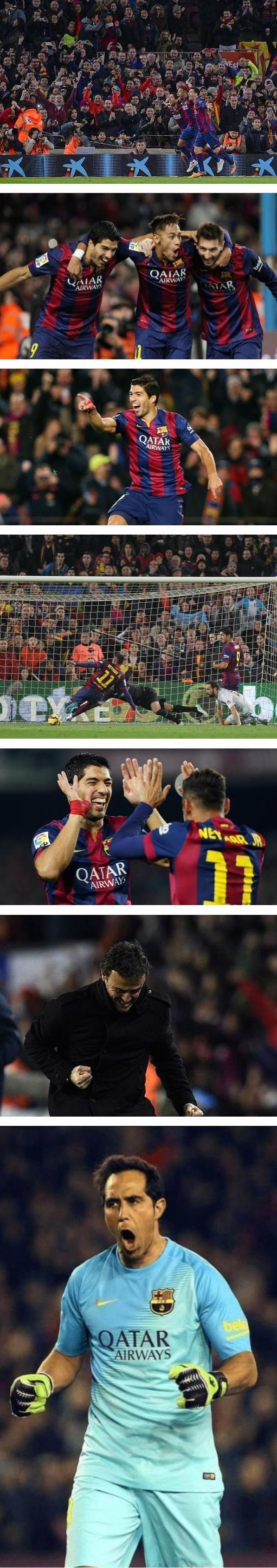 FC Barcelona 3 -  Atletico Madrid 1,   La Liga week 18, 11 January 2015  Barca Goals: Neymar, Suarez, Messi