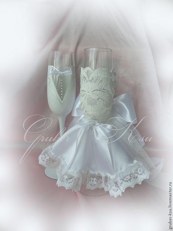"""Купить Свадебные бокалы ручной работы """"Версаль"""" - свадебные аксессуары, свадебные бокалы, свадебные фужеры"""