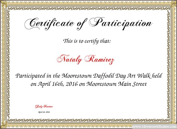 Doc.#16501275: Free Certificate Of Participation Template
