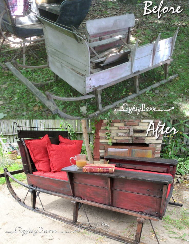 From old sleigh to lounger I LOVE this...double duty as christmas yard display to summer lounger