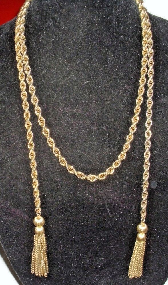 Authentic Vintage Rope Tassel Necklace Chain 54 Inches LONG 99 Cent Auction Unbranded