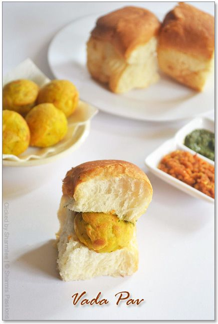 Vada Pav. Serve with deep fried green chillies. (Slit gr. chillies, deep fry and add salt)